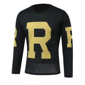 Round Neck Long Sleeves Letter Printed T-Shirt
