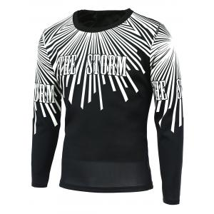 Radial Line Print Round Neck Long Sleeve T-Shirt
