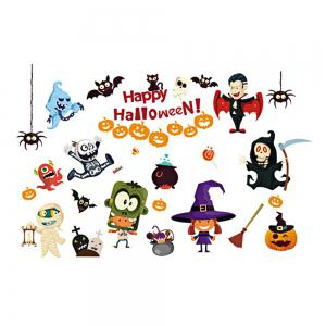 Halloween Cartoon Room Decorative Wall Stickers For Kids Rooms - Colorful - S