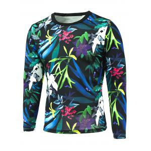 3D All-Over Floral Printed Long Sleeve T-Shirt - Colorful - L
