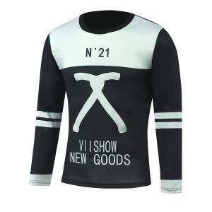 Color Block Letter Print Varsity Striped T-Shirt