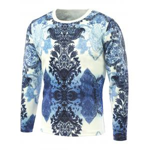 Long Sleeve Abstract Flower Printed T-Shirt - Blue - 5xl