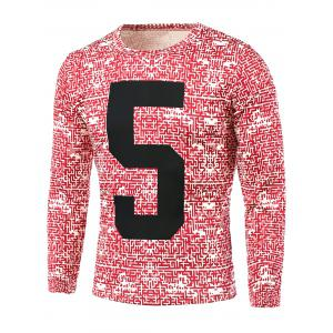 Number Pattern Abstract All Over Printed T-Shirt - Red - M