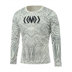 Long Sleeve All-Over Abstract Printed T-Shirt