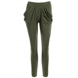 Work Pockets Harem Pants - Olive Green - L
