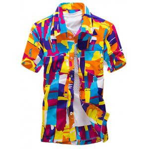 Colour Block Summer Button Down Hawaiian Shirt