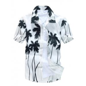 Short Sleeve Coconut Palm Printed Hawaiian Shirt