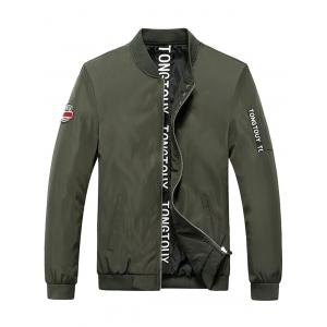 Patch Design Letter Print Rib Spliced Zip Up Jacket - Army Green - 2xl