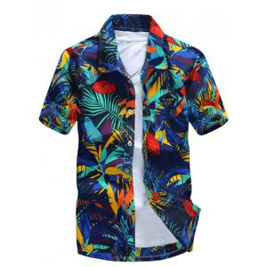 All Over Leaves Print Casual Hawaiian Shirt