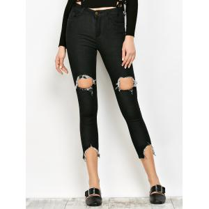 Slimming Ripped Narrow Feet Jeans - Black - S