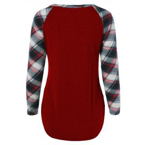 Single Pocket Plaid Full Sleeve T-Shirt - WINE RED XL