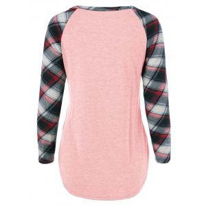 Single Pocket Plaid Full Sleeve T-Shirt - SHALLOW PINK L