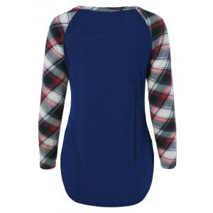 Single Pocket Plaid Full Sleeve T-Shirt - DEEP BLUE M