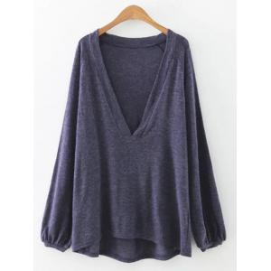 Plunging Neck Lantern Sleeve T-Shirt