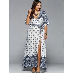 white xl plus size boho print flowy beach wrap maxi dress