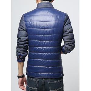 Stand Collar Color Block Splicing Fleece Padded Jacket -