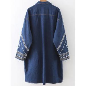 Embroidered Longline Denim Coat -