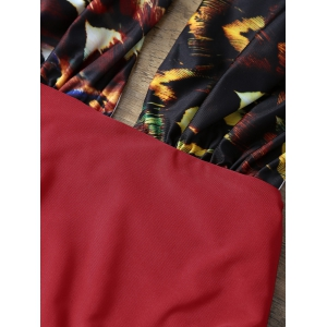 Low Cut One Piece Graphic Swimsuit - RED L