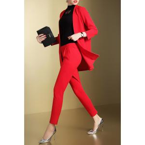 Open Front Business Blazer with Pencil Pants -