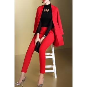 Open Front Business Blazer with Pencil Pants - RED S