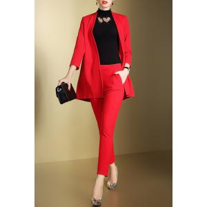 Open Front Business Blazer with Pencil Pants - Red - S
