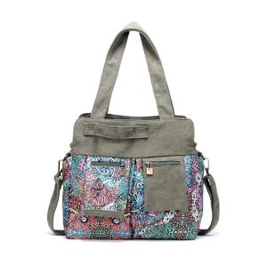 Tribal Print Zip Pockets Shoulder Bag - Khaki