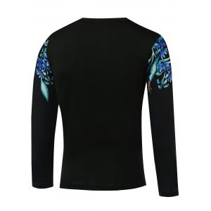 Flower Printed Round Neck Long Sleeve T-Shirt - BLACK 5XL