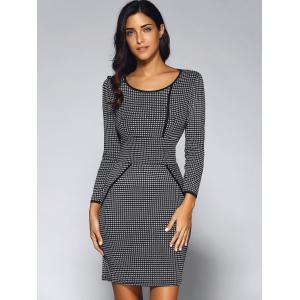 Houndstooth Long Sleeve Fitted Sheath Dress - BLACK XL