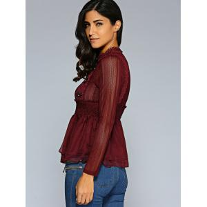 Lace Spliced Smocked Blouse -
