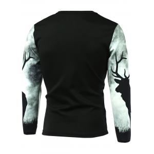 Long Sleeve Sika Deer Printed T-Shirt - BLACK 5XL