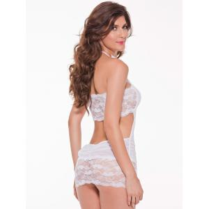 Mesh Laciness Ruched Backless Babydoll - WHITE 2XL