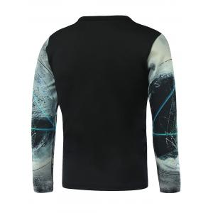 Geometric Printed Long Sleeve Galaxy T-Shirt - WHITE 5XL