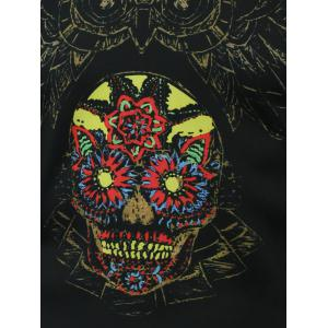 Round Neck Owl and Flower Printed T-Shirt - BLACK 5XL