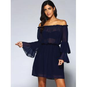 Off-The-Shoulder Layered Flare Sleeve Chiffon Dress -
