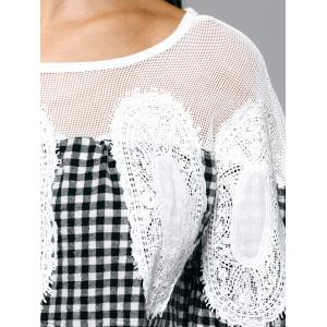 Loose Plaid Openwork Blouse -