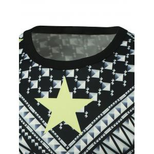 Long Sleeve Geometric Printed T-Shirt - BLACK 5XL
