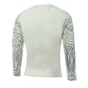 Long Sleeve All-Over Abstract Printed T-Shirt - WHITE 5XL