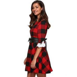 Retro Bowknot Plaid Flare Dress -