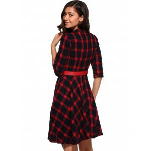 Retro Flare Plaid Dress -