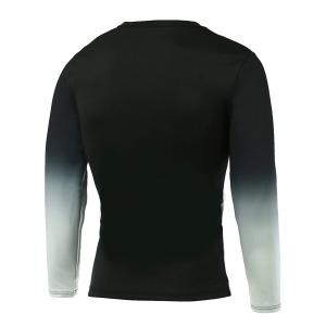 Ombre Letter Print Round Neck Long Sleeve T-Shirt - BLACK XL