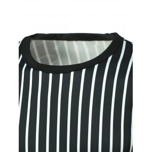 Vertical Striped Round Neck Long Sleeve T-Shirt -