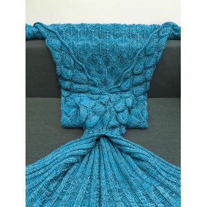 Crochet Knitting Fish Scales Design Mermaid Tail Style Blanket - LAKE BLUE M