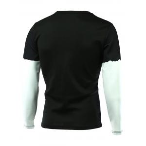 Color Splicing 3D Print Round Neck Long Sleeve T-Shirt - BLACK 5XL