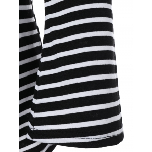 Off the Shoulder Flare Sleeve Striped T-Shirt -