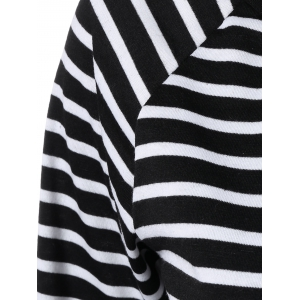 Off the Shoulder Flare Sleeve Striped T-Shirt - WHITE/BLACK XL