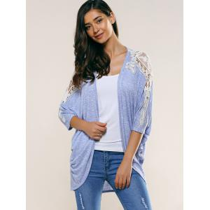Lace Splicing Batwing Sleeve Cardigan -