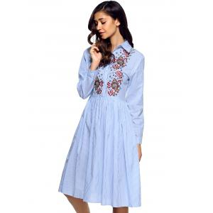 Buttoned Embroidered Striped Shirt Dress -