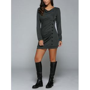 Single-Breasted Long Sleeve Ruched Dress -