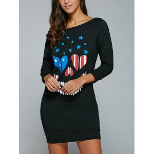 Print Skew Neck Sweatshirt Dress - BLACK XL