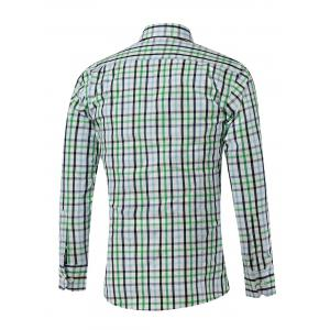 Turn-down Collar Long Sleeve Small Plaid Shirt -